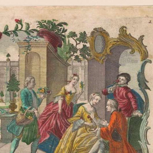 Martin Engelbrecht (1684 - 1756). Odoratus / Der Geruch. Фрагмент. Амстердам, Рийксмузем.
