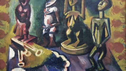 MAX PECHSTEIN (1881–1955). 1918 Still Life with Negro Statues | 67 × 90 cm. Oil on canvas. Dauerleihgabe aus Privatsammlung in der Stiftung Schleswig-Holsteinische Landesmuseen Schloss Gottorf, Schleswig