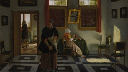 Питер Янсенс Элинга (1623-1682). Интерьер с мужчиной, женщиной за чтением и горничной, ок. 1670 г.