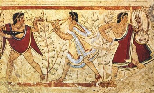 «Танцоры и музыканты». Деталь фрески. Ок. 480—470 до н. э. Гробница «Леопардов» в Тарквиниях