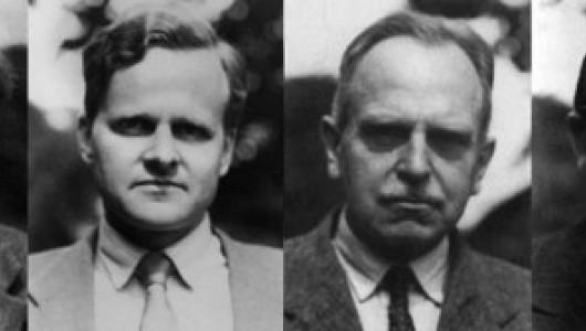 Farm Hall mugshots: Werner Heisenberg, Carl Friederich von Weiszäcker, Otto Hahn and Kurt Diebner.