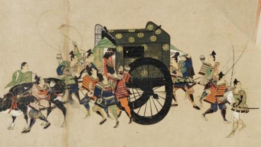 Самураи Минамото-но Ёритомо похищают императора Го-Сиракава во время смуты годов Хэйдзи (1160 г.)