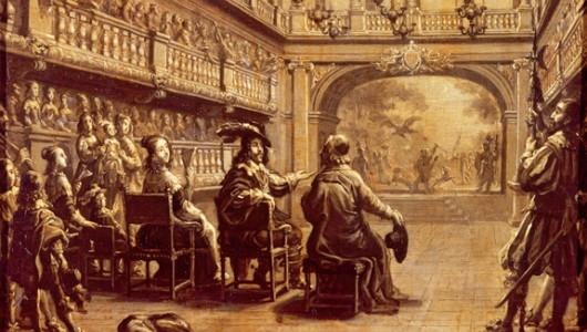Jean ed Saint-Igny. Représentation théâtrale au Palais Royal avec Louis XIII, Anne d'Autriche et Richelieu. Musée des arts décoratifs.